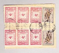 Türkei 19.10.1922 Galata 2 Fach Telegramm Empfangsschein Mit Rücks.Steuermarke 6 X10paras + 2 X 100 Ottom. Rotes.. - 1921-... République