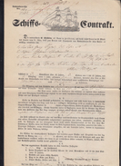 Württemberg Heilbronn Schiffs-Contract Für Auswanderer Nach USA 1851 - Historische Dokumente