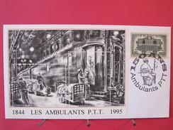 1844 - 1995 - 150 Ans Ambulants PTT - Enveloppe Avec Blocs 2 Timbres Sans Valeur D'affranchissement (recto Et Intérieur) - Cachets Commémoratifs
