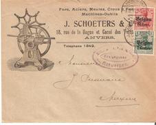 TP. Occ. 2-14 ANTWERPEN 1 - 8/12/17 S/Belle Lettre Illustrée (recto/verso) SCHOETERS - FERS,aciers ...ANVERS. TB. - [OC1/25] General Gov.
