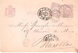 EP.PAYS-BAS  Avec Affranch. Complém. ROTTERDAM V/ANDERLECHT(Bxl) Arr. Cachet Elliptique 1884/5/BRUXELLES - RARE à L'arri - Postal Stationery