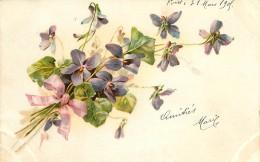 CP ILLUSTREE FLEURS VIOLETTES - Fleurs