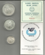 Olympic Coins, Greece 1982, XIII European Athletic Championschips, Set 100, 250, 500 Silver Dracmay In Original Box. - Grecia
