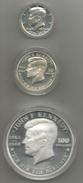 Kennedy John Fitzgeralg, USA Mezzo Dollaro 1976, Niue 50 Dollari 1988; Niue 100 Dollari 1988, Proof, In Cofanetto Blu. - Niue