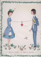 """Petite Affiche De L'Illustrateur """" PEYNET """"  -  Comme Nicolas ! Je Livre à Domicile ..... -  Amoureux - Voir Description - Peynet"""