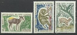 Costa D'Avorio 1963, Animali (**), 3 Valori - Costa D'Avorio (1960-...)