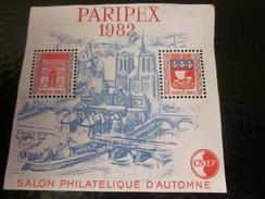 """Feuillet Souvenir CNEP N°3 """" PARIPLEX 1982 """" Salon Philatélique D'automne Timbre  Europe  France Blocs & Feuillets - CNEP"""