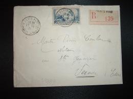 LR TP ALPHONSE DAUDET 2F OBL.17-8-36 PARIS XVIII (75) + GRIFFE LINEAIRE - Marcophilie (Lettres)