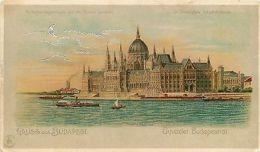 Hungary 1900s Chromo Litho Gruss Aus Budapest Danube Parliament Ships Moon Rare - Cartes Postales