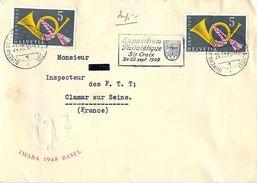 Enveloppe SUISSE - Exposition Philatélique STE CROIX 1949 - Poststempel