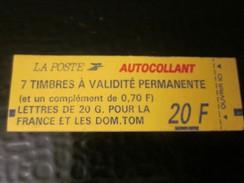 2807 C1 Type Marianne De Briat TVP Rouge Non Dentelé Adhésif -Timbre Europe France Carnets Usage Courant Tarif 6 JUIL 93 - Carnets