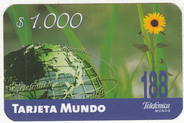 CHILE - Globe, Telefonica Prepaid Card $1000, Exp.date 06/04, Used - Chile