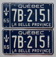 Plaque D'immatriculation - CANADA - Québec 1965 - Les 2 Plaques - - Number Plates