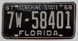 Plaque D'immatriculation - USA - Etat De Floride 1967-68 - - Plaques D'immatriculation