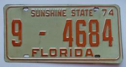 Plaque D'immatriculation - USA - Etat De Floride 1974 - - Number Plates