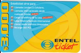 CHILE - ENTEL Prepaid Card $3000, Used - Chile