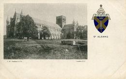 HERTS - ST ALBANS ABBEY VIGNETTE + CREST - UNDIVIDED BACK Ht235 - Hertfordshire