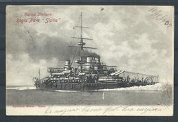 "+++ CPA - Bateau - Marina Italiana - Regia Nave "" Sicilia""  3// - Guerra"
