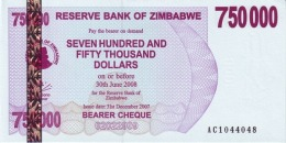 ZIMBABWE 750000 DOLLARS 2007 P-52 UNC  [ZW143a] - Simbabwe