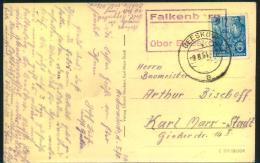 """1954, Postkarte Mit Posthilfsstellenstempel """"""""Falkenberg über Beeskow"""""""" Und 10 Pfg. FJP - DDR"""