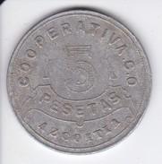 MONEDA DE 5 PESETAS DE LA COOPERATIVA DE AZCOITIA 1915 - España