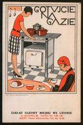 Ukraine Old Postcard Modern, Lwow Lviv Lemberg, Advertising Cook On Gas ! - Ukraine