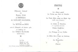 AUBERGE DE LA TOQUE BLANCHE  -SAINT-¨PAUL 06-CHEF DE CUISINE ROTARIEN- J.L. LELAURAIN ET SES FILS - Menus