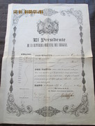 URUGUAY - 1849 PASSPORT - PASSEPORT  For Spain 49 Years Citizen To Travel To EUROPE And BRAZIL - Documentos Históricos
