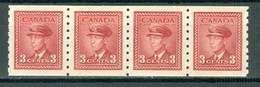 Canada 265 King George VI Coil Strip Of 4 VF MNH 1942 A04s - Neufs
