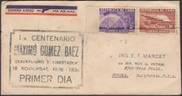 1936-FDC-91 CUBA REPUBLICA. 1936. Ed.299-300. MAXIMO GOMEZ. 5c, 10c. AIR MAIL. GOMIGRAFO NEGRO. - FDC