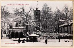 X09146 AX-LES-THERMES Ariège L'Eglise En Hiver Neige 1905s à Alice CATALAN Grand-Rue Montpellier Edition BUILLES - Ax Les Thermes