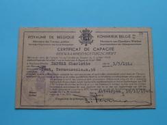 CERTIFICAT GéNéRAL DE CAPACITé ( België N° 35 - 1948 ) Met TAX ( Deprez Charlotte 1912 ( Détail Photo ) ! - Titres De Transport