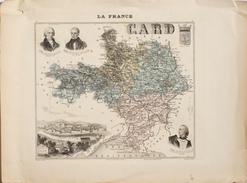 Carte Géographique: La France, Le Département Du Gard, Armes De Nîmes, Médaillons: Assas, Florian, Guizot - Cartes Géographiques