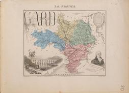 Carte Géographique: La France, Le Département Du Gard, Armes De Nîmes, Le Pont Du Gard, Médaillons De Florian - Cartes Géographiques