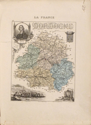 Gravure Carte Géographique: La France, Le Département De La Dordogne, Armes De Périgueux, Fénelon En Médaillon - Cartes Géographiques