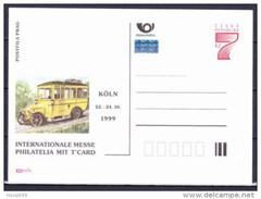 Entier Postal Tchèque Neuf 1999 KOLN COLOGNE Autobus Postal - Ansichtskarten