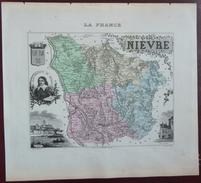 """Gravure 19 ème.  Atlas Migeon  1872 CARTE DU DÉPARTEMENT  """"Nièvre 58"""" -"""