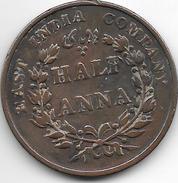 *britisch India  1/2 Anna   1835 B Km 477.1   Fr+ - Inde