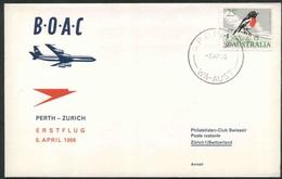 1966 Australia, Primo Volo First Fly Erstflug B.O.A.C. Perth - Zurigo - 1966-79 Elizabeth II