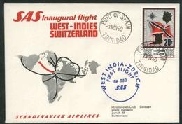 1969 Trinidad And Tobago, Primo Volo First Fly Erstflug S.A.S. Trinidad - Zuright , Timbro Di Arrivo - Trindad & Tobago (1962-...)