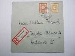 1946 , DRESDEN  , Einschreiben Mit 2 Werten, Rs. Ankunftstempel - Zone Soviétique
