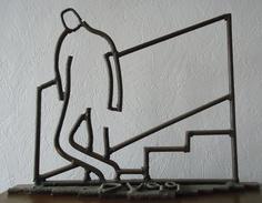 Vignal - Attente - Dessin De Fer - Sculpture - Oeuvre Unique 37 X 49 Cm - Altri