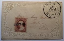 USA 1857-61 3c (Sc. 26) Valentine Cover COLON MICH Cds + RARE CANCEL: UNRECORDED ! (lettre Brief Michigan - 1847-99 General Issues