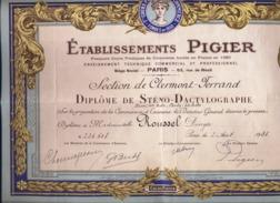 63 -CLERMONT FERRAND -  DIPLOME  - ETABLISSEMENT PIGIER - 1938 - - Diplômes & Bulletins Scolaires