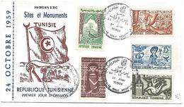 TUNISIE FDC 1959 SITES ET MONUMENTS - Tunisia