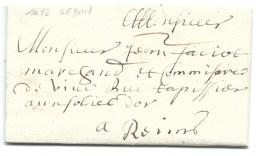 MP SEDAN ARDENNES  POUR REIMS 1692 - Marcophilie (Lettres)