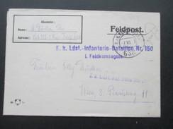 Österreich 1917 Feldpostbrief Mit Inhalt! K.K. Ldst. Infanterie Bataillon Nr. 150. I. Fekldkompagnie. FP Station 638 - Briefe U. Dokumente