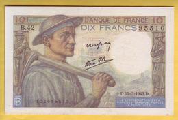 BILLET FRANCAIS - 10 Francs Mineur 25.3.1943 SUP+ - 1871-1952 Circulated During XXth