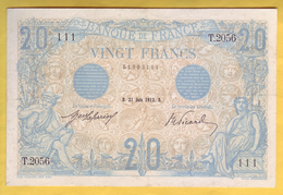 BILLET FRANCAIS - 20 Francs Bleu 21.6.1912 TTB+ - 1871-1952 Antichi Franchi Circolanti Nel XX Secolo