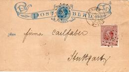1889 Postblad G1 Bijgefrankeerd Met NVPH 20 Afgestempeld Met Puntstempel 8 Van ARNHEM Naar Stuttgart - Postal History